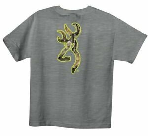 Browning Buckmark YOUTH SMALL Mossy Oak Country Camo S/S Tee Athletic Heather