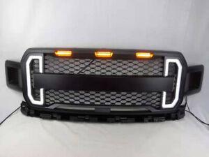 Grille-Raptor-Style-for-2018-2019-Ford-F150-F-150-amp-Amber-LED-Light-DAMON