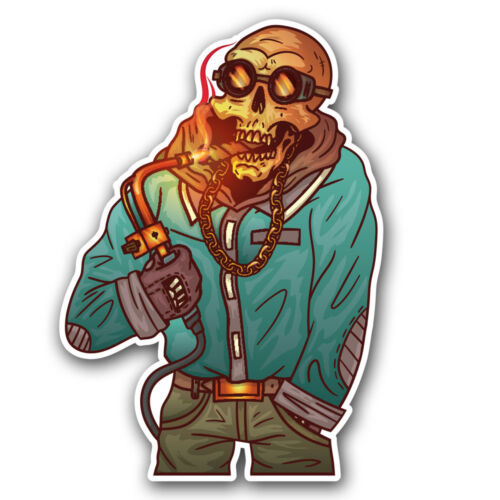 Zombie Skull Welder Welding Helmet Sticker Torch Cigar car truck toolbox decal