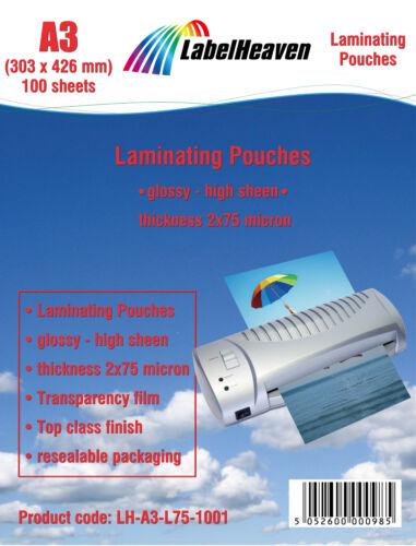100 Blatt A3 Laminierfolien glänzend Laminiertaschen von Labelheaven Ltd