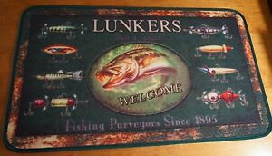 FISHING Lures Lunkers Bait & Tackle Cabin Lodge Home Decor Kitchen Rug Door Mat