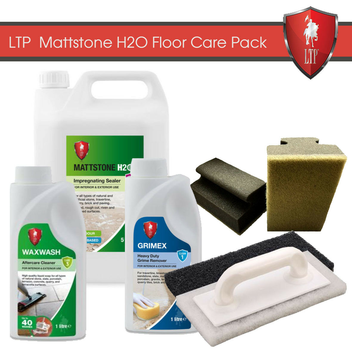 LTP Mattstone H2O Stone Sealer - Cleaner & Maintainer Kit / 1L Grimex & Waxwash