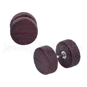00G Fake Dark Red Wood Ear Plugs,16G Surgical Steel Plugs, Organic Cheater Plugs