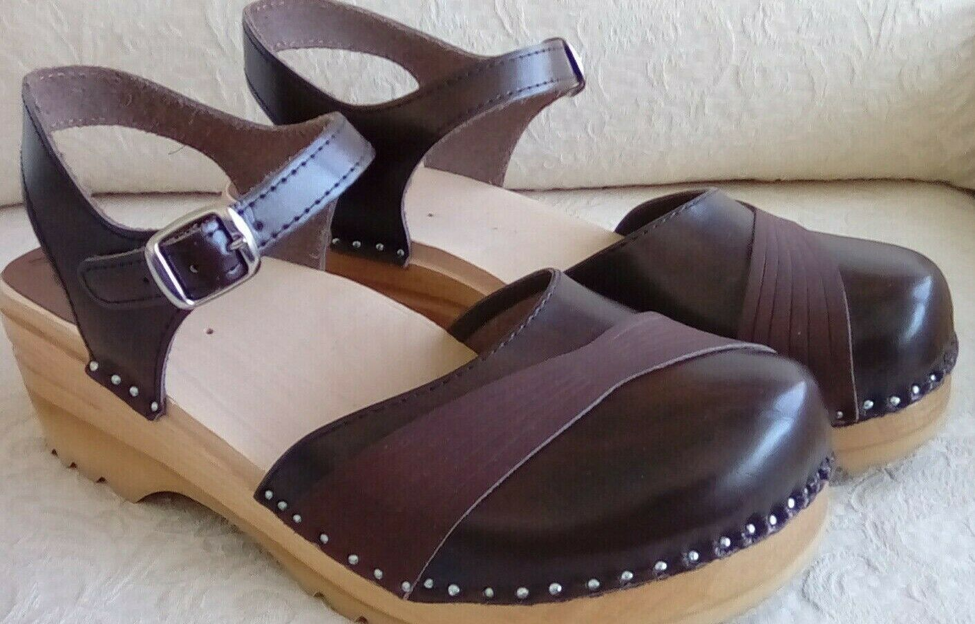 Troentorp Penny Clogs braun Leather Mary Jane Style schuhe Sz 41 E 11 US Sweden