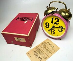Vintage-Florn-Double-Bell-Purple-Alarm-Clock-with-Box-and-Manual-West-Germany