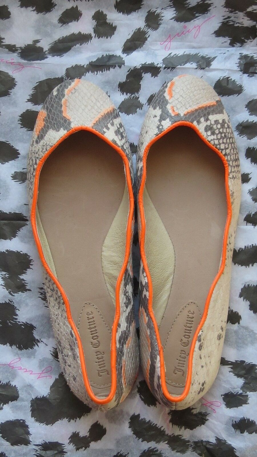 JUICY COUTURE JAILYN  US SNAKE PRINT LEATHER FLATS 7 US  228 baace0