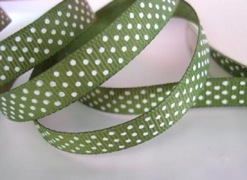 "25 yards Grosgrain Ribbon 3//8/"" Polka Dot//Roll//Craft//Supply R14-Green *FREE SHIP"