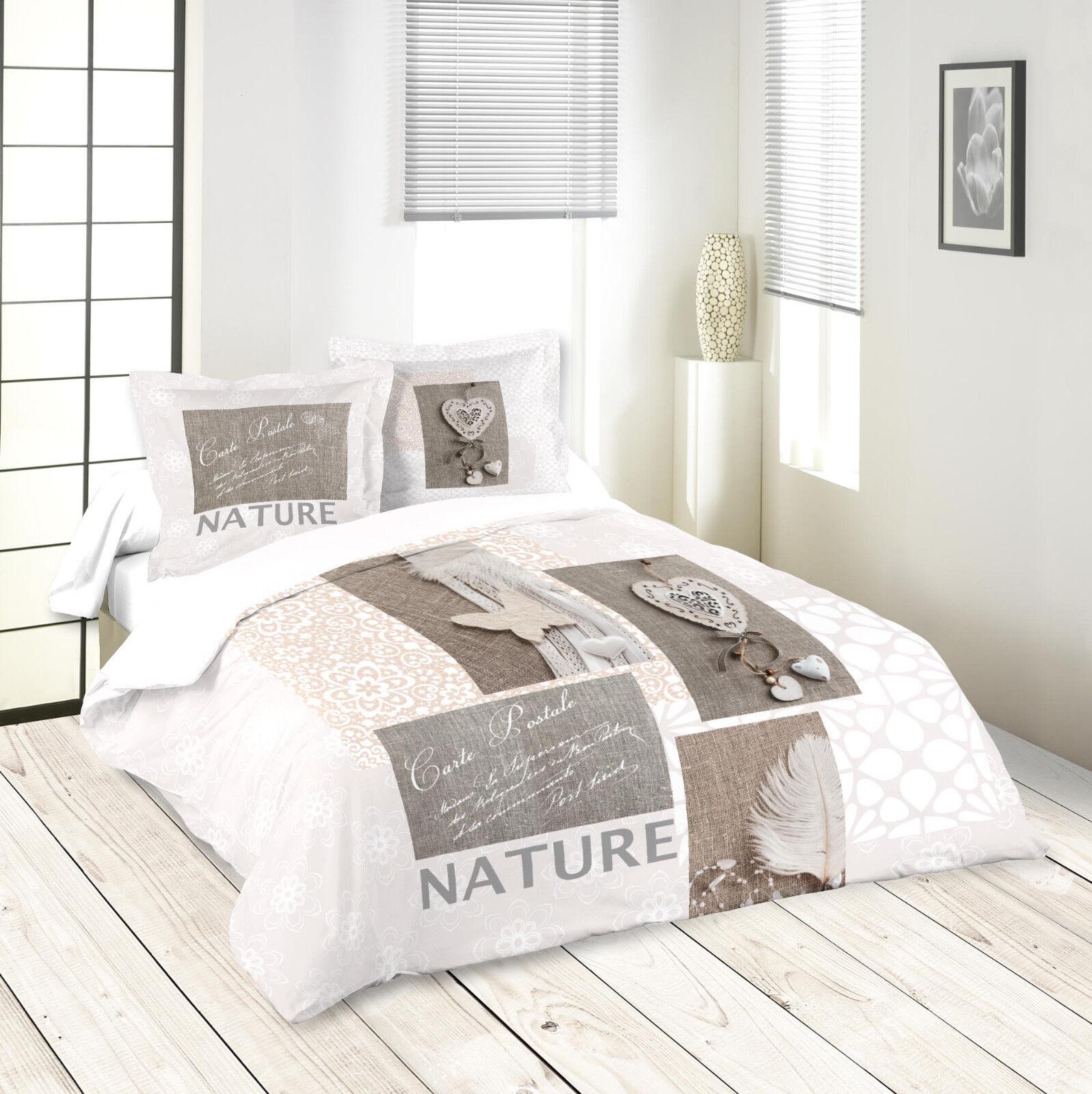 Parure housse de couette 260x240 cm Nature 100 % coton