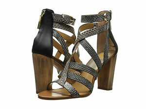 ba55533385c Dolce Vita Nolin Snake Embossed Sandals in Black White Snake Leather ...