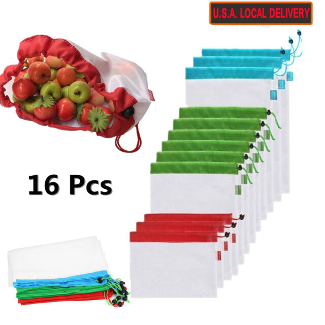 16pcs Reusable Produce Mesh Bags Rope Vegetable Fruit Toys Storage Pouch Bag Usa