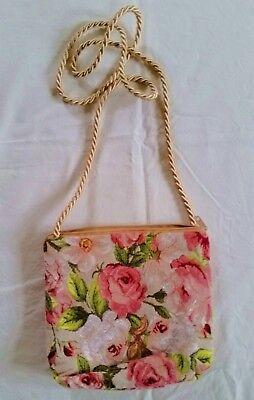 NEU! Kleine Handtasche mit Kordelriemen - Rosenmotiv