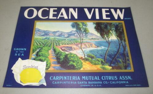 Original Old Vintage Brand Lemon Crate LABEL Carpinteria CA. OCEAN VIEW