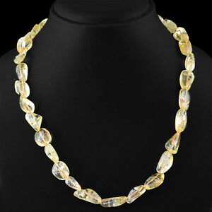 ATTRACTIVE-245-00-CTS-NATURAL-RICH-YELLOW-CITRINE-UNTREATED-BEADS-NECKLACE-DG