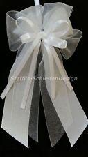 10 Antennenschleifen Autoschleifen Antennenschleife Hochzeit weiß Perlenherz