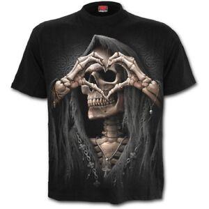 SPIRAL-DIRECT-DARK-LOVE-T-Shirt-Death-Heart-Reaper-Metal-Biker-Reaper-Top-Tee