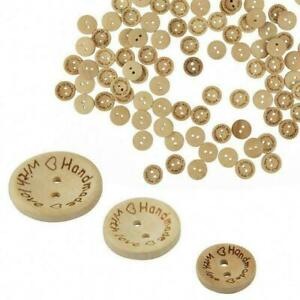 100Pcs-Bag-Handmade-with-Love-2-Holes-Wooden-Buttons-Sewing-DIY-Scrapbookin-O5L6