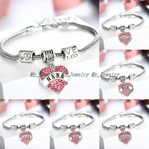 FAMILY-BRACELET-CHIC-LOVE-HEART-CRYSTAL-CHARM-PENDANT-BEADS-SILVER-TONE-BANGLE