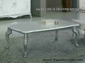 Image Is Loading The Daniela Italian White Silver Coffee Table Classic