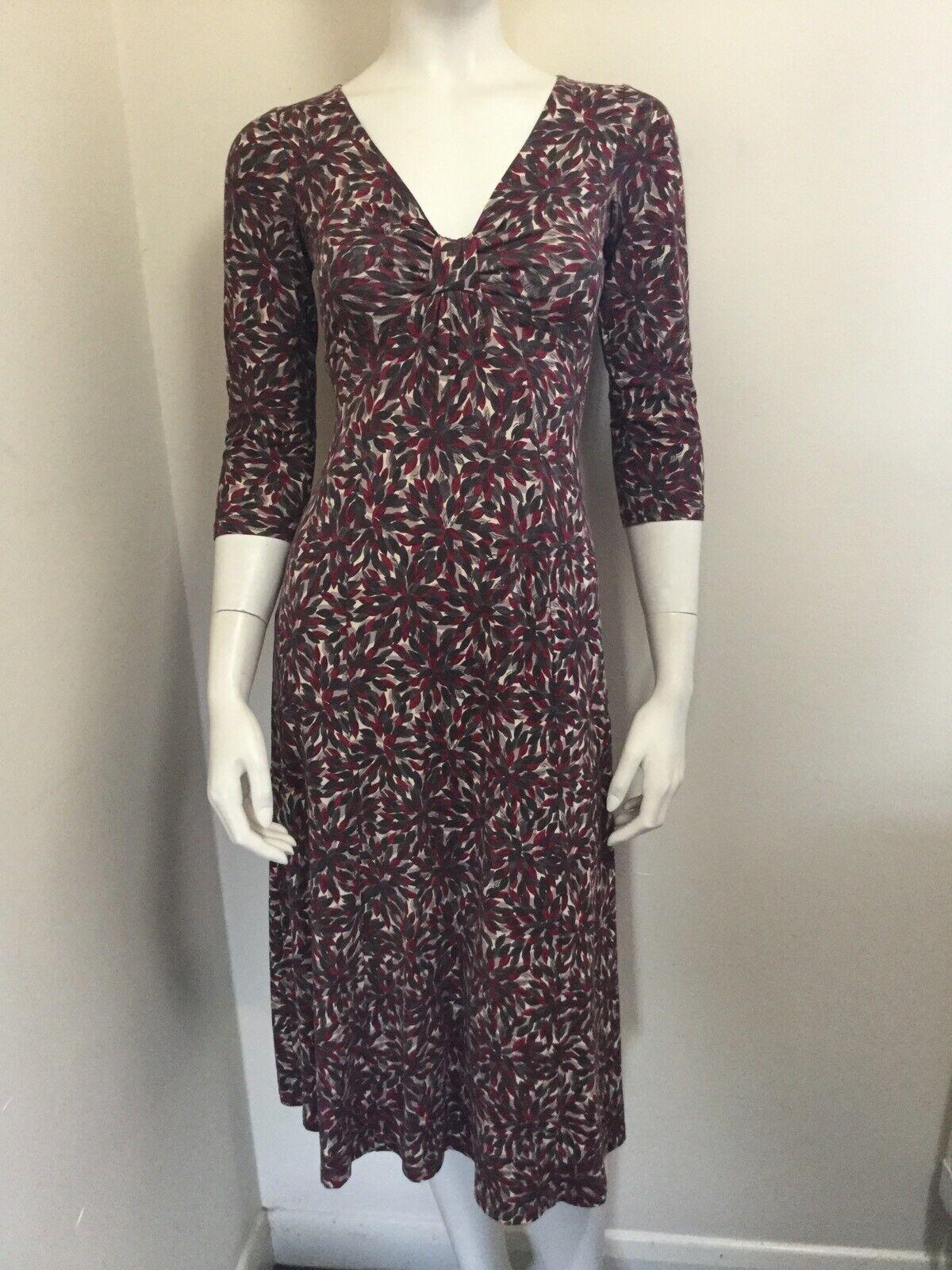 L.K.Bennett Stretch Jersey Dress Red Greys Cream Leaf Print BNWOT USA 2