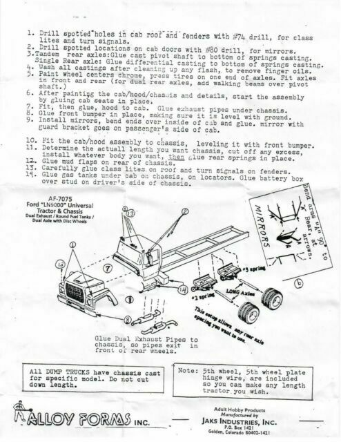 HO 1 87 Alloy Forms # 7075 Ford LN 9000 Tandem Axle Tractor//chassis Kit Only for sale online