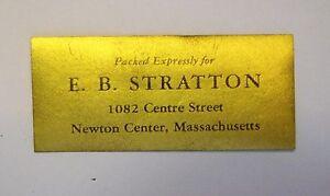 Cinderella GOLDEN E.B. STRATTON NEWTON CENTER, MASS PACKING LABEL
