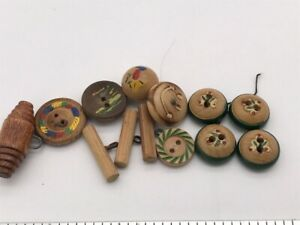 LOT Antique VTG Wood Button Carved Green Painted Cherries Yellow Red Fruit Small