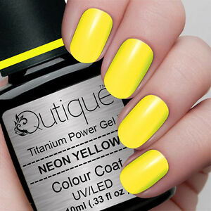 Qutique NEON YELLOW Soak Off LED/UV Gel Nail Polish Colour ...