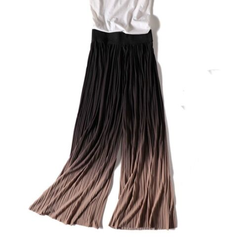 Womens Chiffon Pleated Pants Wide Leg Palazzo Trouser Cropped Stretch Gradient