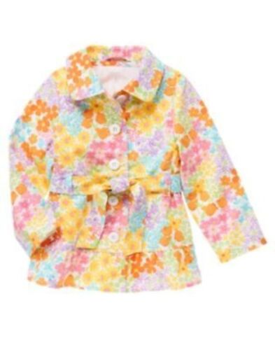 GYMBOREE BUTTERFLY BLOSSOMS FLOWER PRINT TRENCH COAT 3 4 5 6 7 8 10 12 NWT