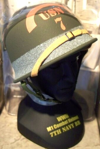 1//4 Scale Gearbox  WWII D Day 7th U.S.Navy Omaha Beach Battalion M1 Helmet