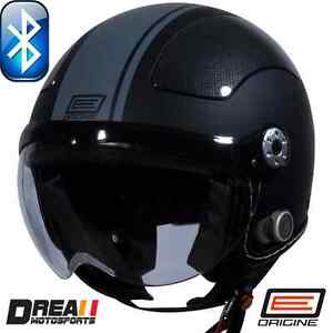 ORIGINE-BLUETOOTH-MATTE-FLAT-BLACK-GREY-OPEN-FACE-MOTORCYCLE-HELMET-DOT-XS-XL