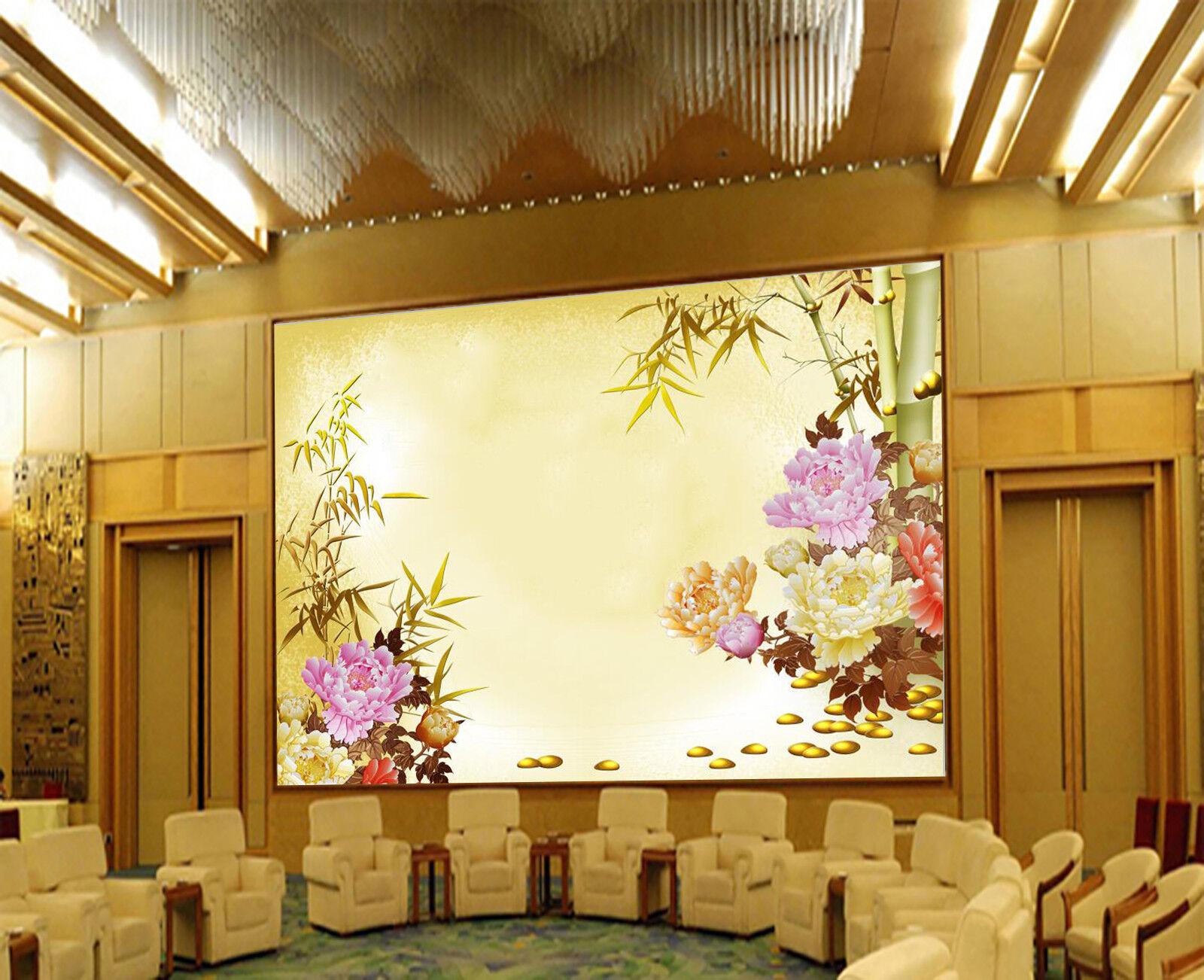 3D Bamboo Leaves Flowers 80 Wallpaper Mural Paper Wall Print Wallpaper Murals UK