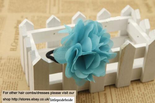 Hand Made Chiffon  Fuchsia Camellia Hair Band Pony Tail Elastic