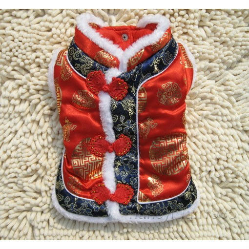 Pet Dog Cat Red Chinese Tang Dress Coat Dog Clothing