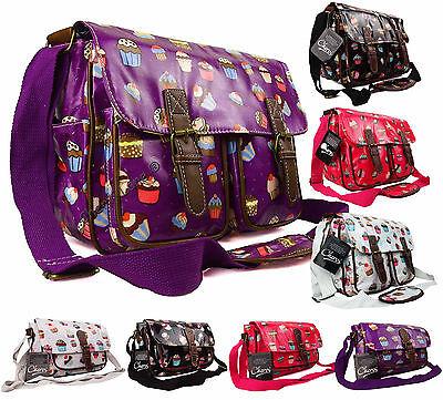 Womens Girls Cupcakes Oilcloth Uni School College Messenger Satchel Shoulder Bag