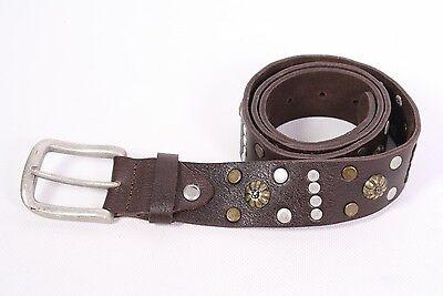 G3-72 Cintura Spessa Pieno Carni Bovine Marrone Pelle 100 Cm Borchie Cintura Pantaloni Cintura Nuovo-mostra Il Titolo Originale