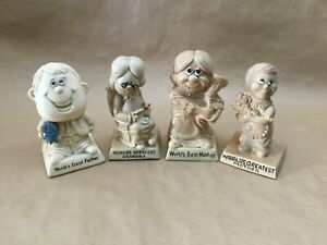 Lot-of-4-Vintage-1970-s-R-amp-W-Berries-Cos-Figurine-Russ-Wallace-Berrie