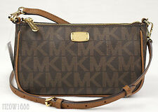New Michael Kors JET SET Brown Logo Signature Pouchette Crossbody Purse Bag $198