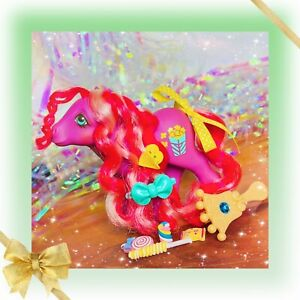 ❤️My Little Pony MLP G1 Vtg Candy Cane Ponies CARAMEL CRUNCH Purple Popcorn❤️