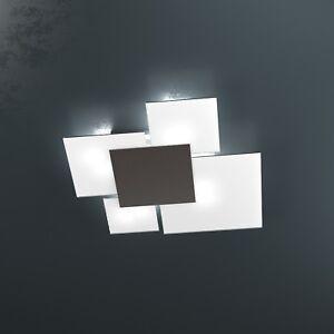 Plafoniere Per Casa.Dettagli Su Plafoniera Moderna Casa Ufficio Applique Lampada Di Design 4 Luci In Vetro