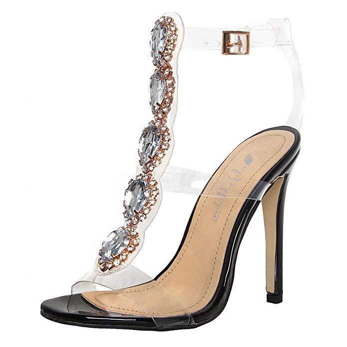 Women's Peep Toe Rhinestone Heels Heels Heels Sandals Strap PVC Transparent Sexy Party shoes 4bec4e