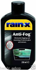 RAIN X ANTI FOG ELIMINATES FOGGING STEAMING MIST INTERIOR GLASS / MIRRORS 200ml