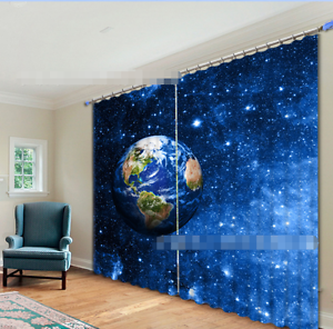 3D Star Earth31 Blockout Photo Curtain Printing Curtains Drapes Fabric Window UK