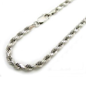 Mens-Womens-10K-White-Gold-2MM-Diamond-Cut-Rope-Chain-Bracelet-7-8-Inches