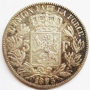 Ecu-5-francs-argent-leopold-II-belgique-l-039-union-fait-la-force-1875