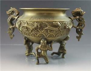 Chinese-Bronze-Urn-or-Open-Incense-Jar-Censor-w-Dragon-Handles