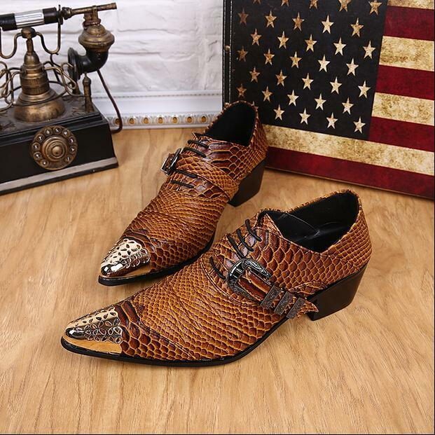 2016 Fashion Mens Snake Skin Pointed Metal Buckle Dress Formal Cuban Hees Shoes
