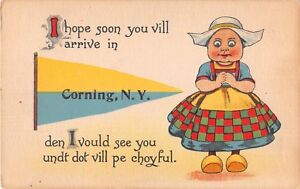 New-York-postcard-Corning-pennant-Dutch-Kid-I-hope-soon-you-vill-arrive