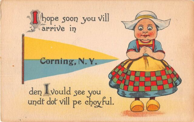 New York postcard Corning pennant Dutch Kid I hope soon you vill arrive