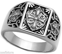 Templar Knight No Stone Unisex Silver Stainless Steel Ring